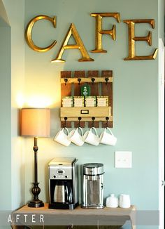 Coffee Bar..so dang cute.  change to be tea and hot chocolate and i love it.  also use shelves not hooks for mugs: