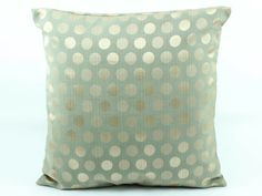 Decorative throw pillow cover 18x18, Pistachio Green Gold pillow, Gold dots circles Pillow, Accent Pillow, Couch Sofa Pillow, Silk Pillow