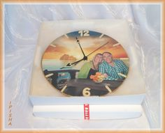 """Decoupage with foto Clock  """"SUNSET"""" Work done in the program CS6 and decoupage technique. Made to order price 55.00 euro"""