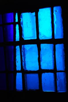 Lights through Blue Stained Glass Windows.