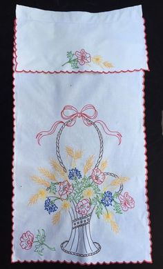 Details about True Vintage Embroidered Lrg Flower Basket Blue Yellow Red Trim Farmhouse Decor Vintage Curtain Embroidered Large Flower Basket Blue Yellow Red Trim Very Pretty Vintage Embroidery, Embroidery Designs, Embroidery Floss Storage, Vintage Curtains, Flower Basket, Large Flowers, Embroidered Flowers, Vintage Decor, Blue Yellow