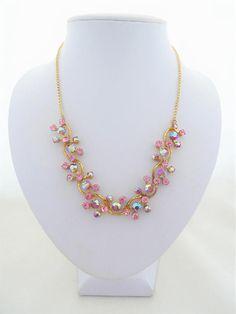 Vintage Pink Toned Aurora Borealis and Pink Rhinestone Gold