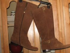 Circa-Joan-David-Brown-Suede-Leather-Long-Boots-w-Buckle-CJHearty-Size-10M