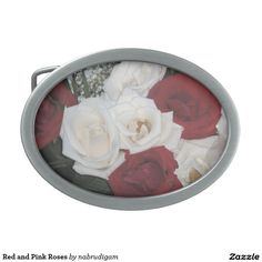 Red and Pink Roses Oval Belt Buckles