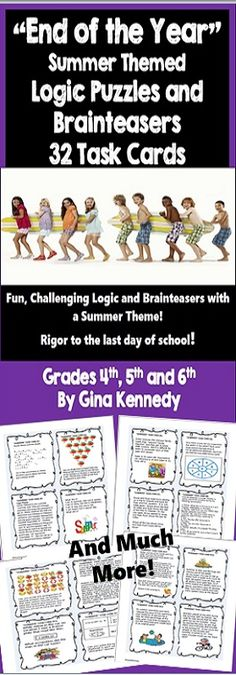 """32 challenging """"end of the year"""" summer themed logic puzzles, and brainteasers that integrate math and vocabulary, rigor to the last day of school!.   A super way to make sure your students are using critical thinking skills up until the last day even when they start getting """"summer fever."""" The task cards are challenging and will provide for hours of classroom fun! $"""