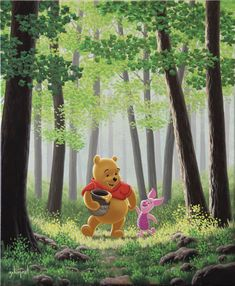 """A Walk With A Friend"" by Schim Schimmel Disney And Dreamworks, Tinkerbell, Winnie The Pooh, Walt Disney, Art Work, Disney Characters, Fictional Characters, Disney Princess, Dogs"