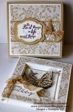 Julie Kettlewell - Stampin Up UK Independent Demonstrator - Order products Butterfly Frame Card Box Butterfly Frame, Butterfly Cards, Fancy Fold Cards, Folded Cards, Bee Cards, Mothers Day Cards, Card Tutorials, Box Frames, Creative Cards