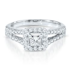 favv3 Princessa Collection™ 1 ct. tw. Diamond Engagement Ring in 18K Gold  available at #HelzbergDiamonds