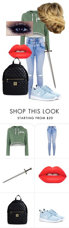 """""""Brooke Ashton #2"""" by unitedbypotter ❤ liked on Polyvore featuring Topshop, Lime Crime, Love Moschino, NIKE, women's clothing, women, female, woman, misses and juniors"""