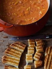 "Barefoot Contessa from the cookbook ""Foolproof""- Easy Tomato Soup & Grilled Cheese Croutons"