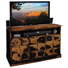 Solid Maple Weather Black TV Lift Cabinet made in the USA
