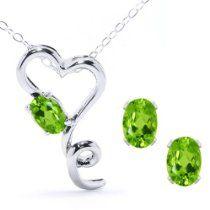 2.12 Ct Natural Green Peridot 925 Sterling Silver Heart Pendant Earrings Set 18