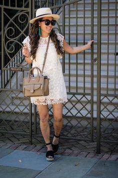 { pom-pom white lace dress // perfect for spring }
