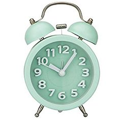 """Amazon.com: PiLife 3"""" Mini Non-ticking Vintage Classic Bedside Alarm Clock with Backlight, Battery Operated Travel Clock, Twin Bell Loud Alarm Clock( 3D Green): Home & Kitchen"""