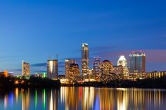 Austin Skyline reflected in Lady Bird Lake. Gorgeous!