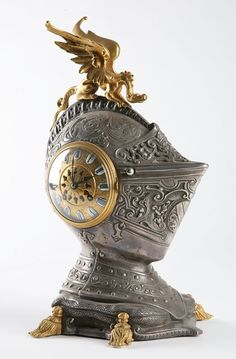 41: 19th century dore' bronze and pewter clock : Lot 41