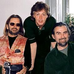 George Harrison, Paul McCartney, ... | THREE OF US Ringo, Paul, and George jam (very briefly) on the ''Anthology'' DVD