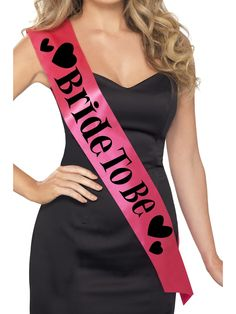 "A hot pink satin sash that reads, ""Bride to Be"" with black hearts.) Bride To Be Sash, Bachelorette Sash, Bachelorette Party Sashes"