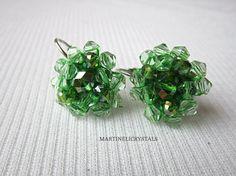 Green Dangle Drop Earrings Bohemian Earrings by MARTINELICRYSTALS Swarovski Crystal Earrings, Unique Fashion, Dangles, Bohemian, Stud Earrings, Trending Outfits, Unique Jewelry, Handmade Gifts, Green