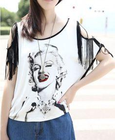 Marilyn Monroe Head Printed T-shirt with Tassel Sleeves - T-shirt Tops - T-shirts & Tanks - Clothing