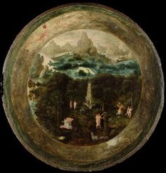 BLES, Herri met de (b. ca. 1510, Bouvignes (Dinant), d. after 1550)   Click! The Paradise  1540s Oil on panel, diameter 47 cm Rijksmuseum, Amsterdam  The painter based his depiction of the Paradise on the opening page of the Bible translated by Luther and decorated with woodcuts by Lucas Cranach. Several of the small scenes, such as the creation of Eve and the expulsion from Paradise,