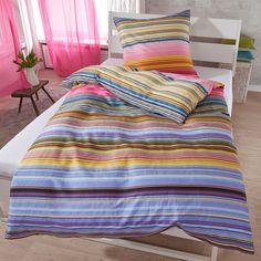 Bunte Mako-Satin Streifen Bettwäsche aus feiner Baumwolle mit leichtem Seidenglanz. Diese hochwertige Bettwäsche überzeugt mit einem Streifenmix in fröhlichen Farben. Sie versprüht einen frühlingshaften Charakter und verleiht dem Schlafzimmer neuen Glanz. www.bettwaren-shop.de