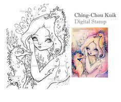 Ver el arco iris - descarga inmediata de sello Digital / Coral Caballito de mar sirena hada niña fantasía arte por Ching-Chou Kuik