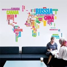 Colorful World Map Wall Stickers Large English Alphabet Removable Decal at Banggood