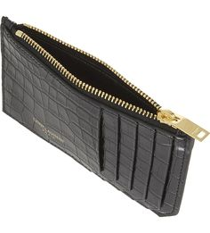 SAINT LAURENT Rive Gauche crocodile-embossed leather card holder
