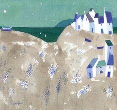 Giuliana Lazzerini. Headland Village. Watercolour. H.19 x w.21cm