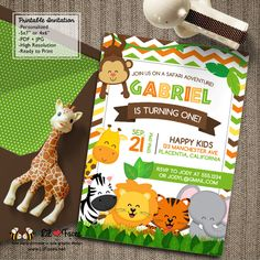 Safari Jungle Birthday Party Printable Invitations Cute Safari Animals - Printable DIY Invitation - Personalized Invite card DIY party printables will save you time and money while making your planning a snap!