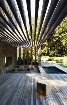 Get the perfect custom pergola shade for your delight. Find the pergola pool designs that suit the space you want to create! Outdoor Rooms, Outdoor Gardens, Outdoor Living, Outdoor Decor, Outdoor Bathrooms, Outdoor Sheds, Villa Design, Design Hotel, Design Design