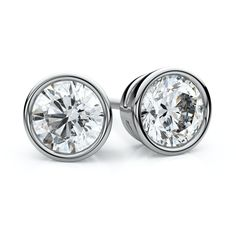 IGI Certified 18k White Gold Bezel Round Diamond Stud Earrings 1 1/2ctw, H-I,VS