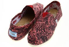 Cheap Toms Artist Classics women shoes national flower red outlet