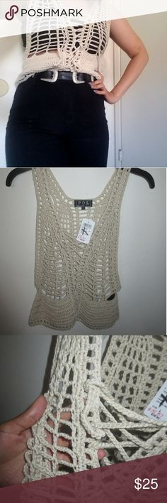 Vintage looking 70s crochet vest Very cute but kinda fits me a little bit  Never worn except for this Obv new with tags  From windsor  OPEN TO OFFERS #topshop #urbanoutfitters #UNIF WINDSOR Tops
