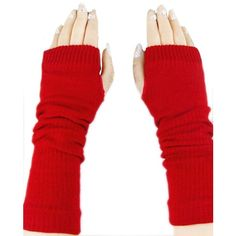 Red Ladies Cute Fingerless Winter Classic Warm Gloves (305 DOP) ❤ liked on Polyvore featuring accessories, gloves, red, fingerless gloves, red gloves and red fingerless gloves