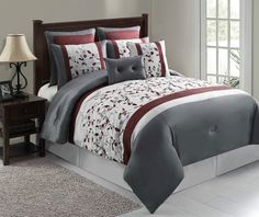 8pc Luxury Bedding Comforter Set Anastasia Silver Maroon Gray with Pillow Shams $99.99