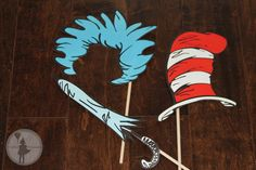 Dr. Seuss Inspired Party Photo Booth Props Package: (Printable Edition). $12.00, via Etsy.