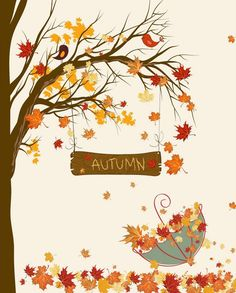 Fall Umbrella by Secretly Spoiled Graphic Art - Fall Crafts For Toddlers Autumn Art, Autumn Trees, Autumn Leaves, Fall Crafts For Toddlers, Toddler Crafts, Fall Arts And Crafts, Umbrella Art, Fall Preschool, Hello Autumn
