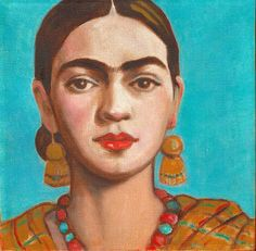 "Frida Kahlo 8""x8"" square signed print from my original painting Mexican Art wall art decor"