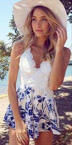 Floral & lace romper