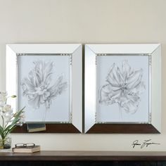 The Uttermost Silvery Blue Tulips in Mirrored Frames – Set of 2 is an elegant art set for modern interiors, combining handcrafted prints with. Picture Frame Display, Mirrored Picture Frames, Wall Art Sets, Framed Wall Art, Mirror Inspiration, Mirror Ideas, Mirror With Led Lights, Blue Tulips, Hanging Pictures