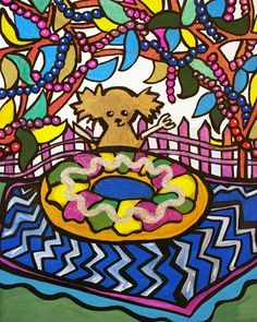 """""""Cocoa's King Cake Picnic"""" oil and acrylic painting on canvas by New Orleans artist Ally Burguieres, 8x10"""", original $450, Limited-edition Signed & Retouched Canvas Giclee Print $75. Happy Mardi Gras!!"""
