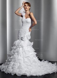 Свадебные платья - $254.99 - Раструб/Платье-русалка Бретель Через Одно Плечо Часовня Поезд Органза Свадебные Платье с Цветы Ниспадающие оборки (002014797) http://amormoda.ru/Trumpet-Mermaid-One-shoulder-Chapel-Train-Organza-Wedding-Dress-With-Flower-S-Cascading-Ruffles-002014797-g14797