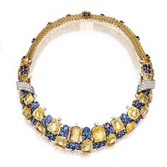 An 18k gold, platinum, sapphire and diamond necklace by Marchak, circa 1950.