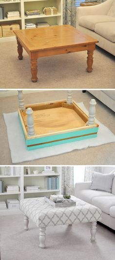 Def better than a plain wood table! Upholstered Ottoman http://www.handimania.com/diy/upholstered-ottoman.html