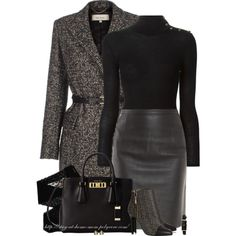 """Turtleneck, Leather Skirt & Tweed"" by stay-at-home-mom on Polyvore #Sleek"