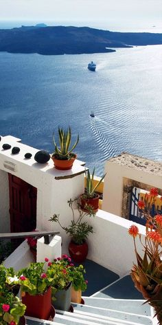 Volcano view from Fira ~ Santorini Island, Greece