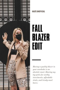 Having a quality blazer in your wardrobe is an absolute must. Sharing my top picks for worthy investments, affordable steals, and trendy must haves. #blazer #blazers #fallfashion #fashiontips #shopping #womensfashion #falloutfits #athleisure #masks #ootd Fall Fashion Outfits, Casual Fall Outfits, Fall Winter Outfits, Grunge Fashion, Cheap Fashion, Cool Outfits, Winter Fashion, Fashion Hacks, Fashion Bloggers