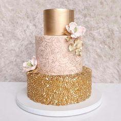 Blush Pink + Gold Glitter Wedding Cake